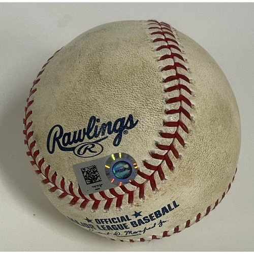 Photo of Game-Used Baseball - Kris Bryant Home Run off Adam Cimber - 8/12/2020 - Cubs at Indians