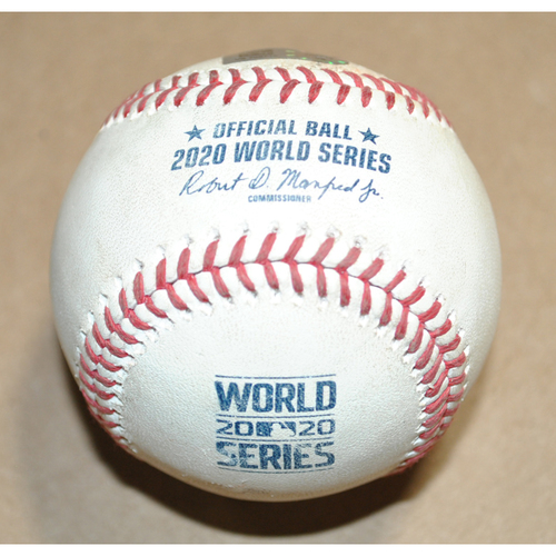 Photo of Game-Used Baseball - 2020 World Series Game 4 - Los Angeles Dodgers vs. Tampa Bay Rays - Batters: Will Smith/Cody Bellinger/Joc Pederson, Pitcher: Nick Anderson, Strikeout Swinging/IBB/Ball in Dirt, Top 7