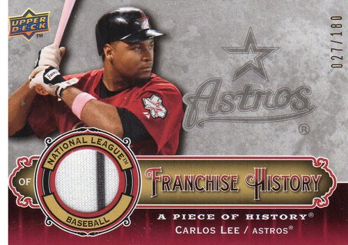 Photo of 2009 UD A Piece of History Franchise History Jersey Red #FHCL Carlos Lee