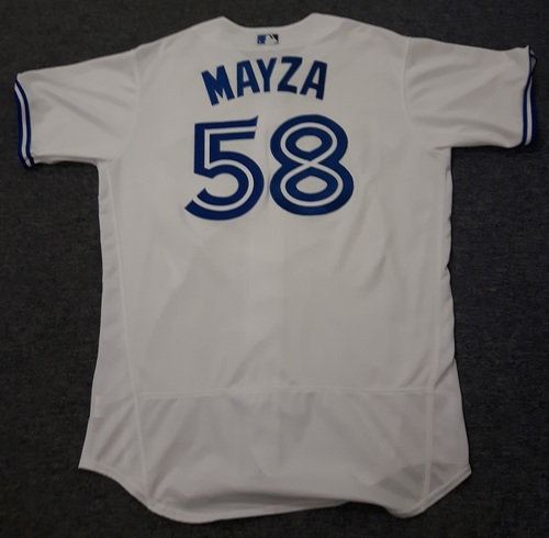 Authenticated Game Used Jersey - #58 Tim Mayza (August 29, 2017). Size 48.