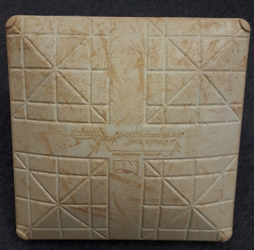 Photo of Authenticated Game Used Base - September 22, 2017 (Ryan Goins Grand Slam and Hidden Ball Trick Game). 2nd Base for Innings 7 to 9.