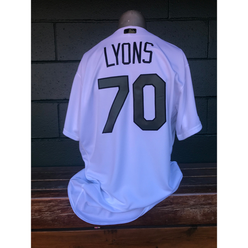 Photo of Cardinals Authentics: Tyler Lyons Game Worn Home White Memorial Day Jersey