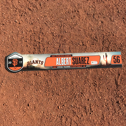 Photo of San Francisco Giants - Team-Issued 2017 Spring Training Locker Tag - #56 Albert Suarez