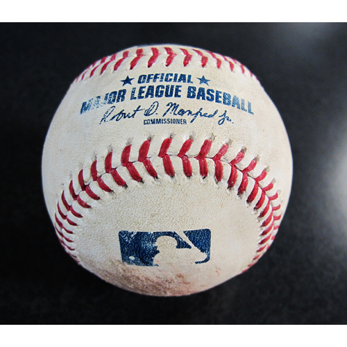 Photo of Game-Used Baseball From the Albert Pujols 3000 Hit Game - Pitcher: Marc Rzepcznski, Batter: Andrelton Simmons - Ball in the Dirt - 5/4/18