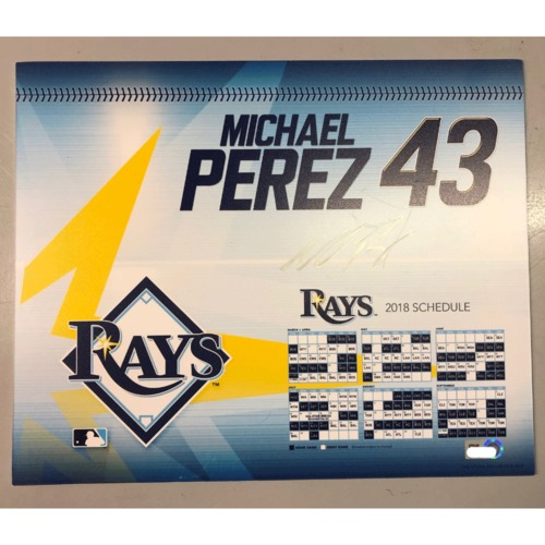 Photo of Team-Issued Autographed Locker Tag: Michael Perez - First MLB Season
