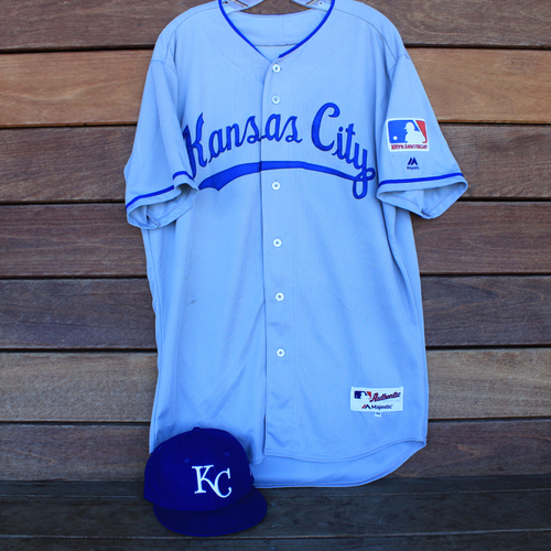 Photo of Game-Used 1969 Throwback Jersey and Cap: Glenn Sparkman (Size 46 - KC @ WSH  - 7/6/19)