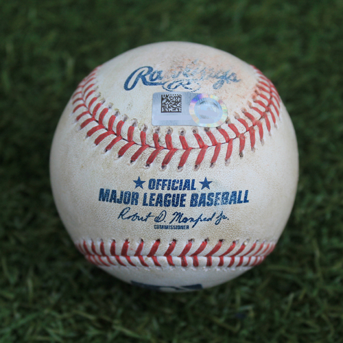 Photo of Game-Used Baseball: Logan Forsythe 718th Career Hit and 86th RBI (TEX @ KC - 5/16/19)