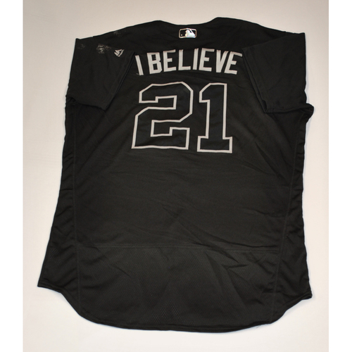 """Photo of Stephen`""""I Believe"""" Vogt San Francisco Giants Game-Used 2019 Players' Weekend Jersey"""