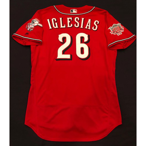 "Photo of Raisel Iglesias -- Game-Used ""Los Rojos"" Jersey -- D-backs vs. Reds on 9/6/19 -- Jersey Size 46"