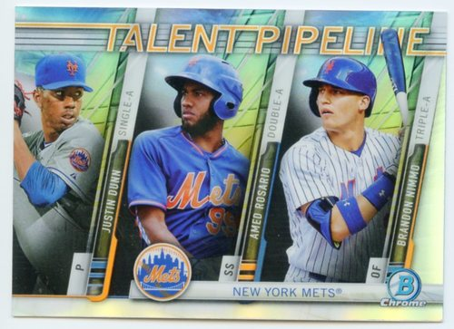 Photo of 2017 Bowman Chrome Talent Pipeline Refractors #TPNYM Justin Dunn/Amed Rosario/Brandon Nimmo
