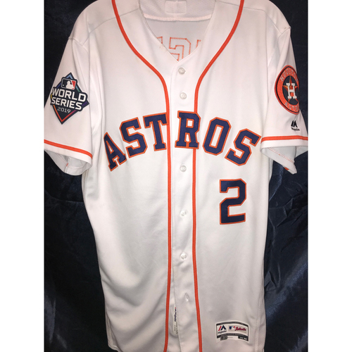 Photo of 2019 Alex Bregman Game-Used World Series Home Jersey for Games 1 and 2 (Size 42)