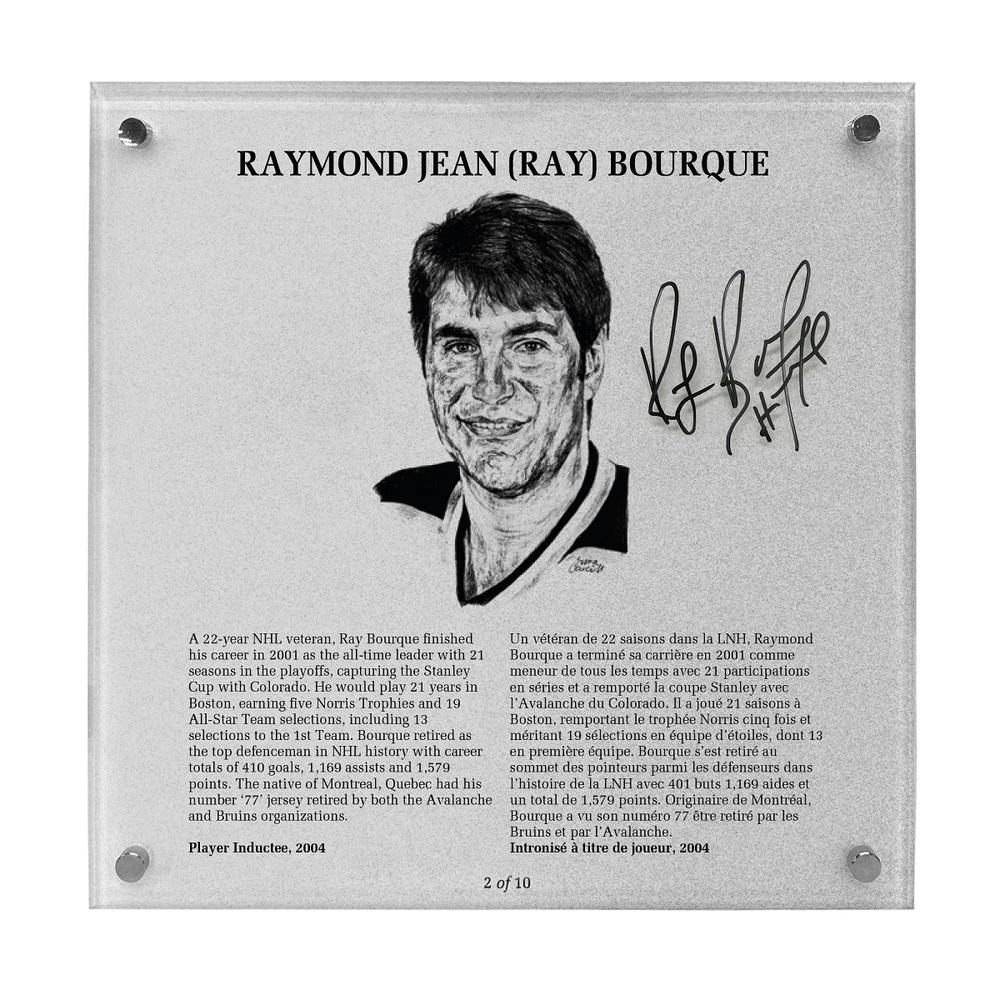 Ray Bourque Autographed Legends Line Honoured Member Plaque - Limited Edition 2/10