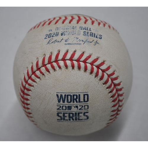 Photo of Game-Used Baseball - 2020 World Series - Tampa Bay Rays vs. Los Angeles Dodgers - Game 2 - Pitcher: Blake Snell, Batter: AJ Pollock (Popout to 1B in Foul Territory) - Bot 2