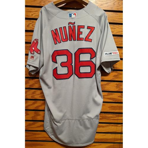 Photo of Eduardo Nunez #36 Team Issued Gray Road Jersey