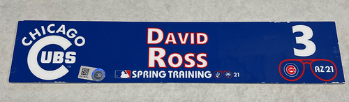Photo of David Ross 2021 Spring Training Locker Nameplate