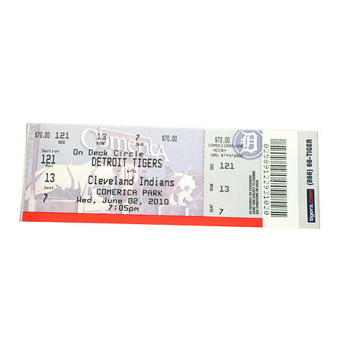 "Photo of  Detroit Tigers Ticket from June 2, 2010 Armando Galarraga's ""Almost Perfect"" Game"