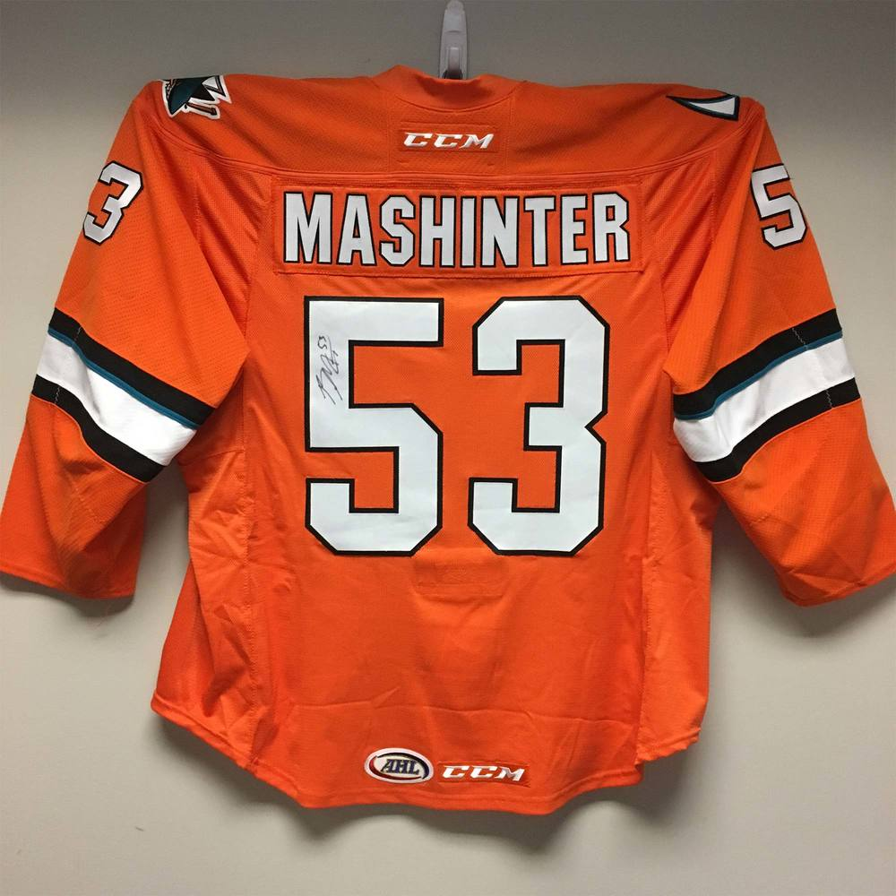 San Jose Barracuda Third Jersey Worn and Signed by #53 Brandon Mashinter