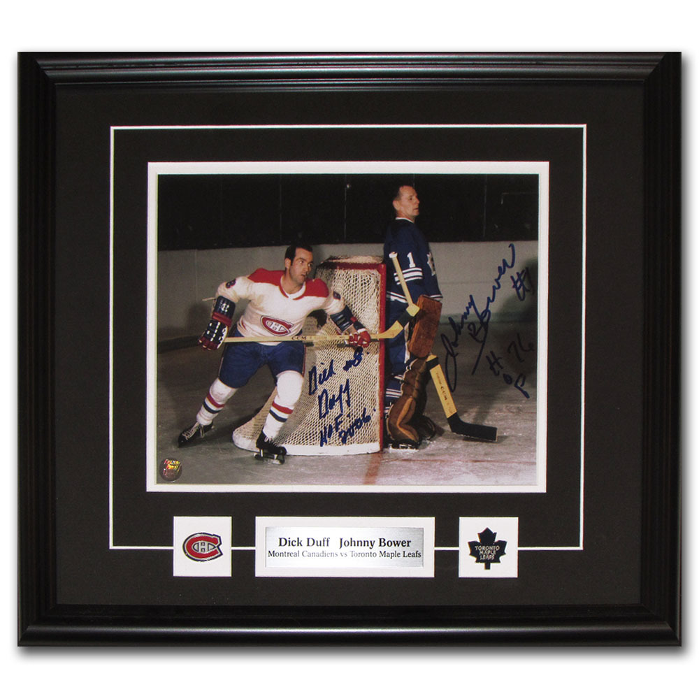 Johnny Bower & Dick Duff Autographed Framed 8X10 Photo