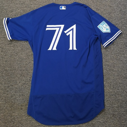 Photo of Authenticated Game Used 2019 Spring Training Jersey - #71 Roemon Fields (Mar 25: 0-for-1). Size 46