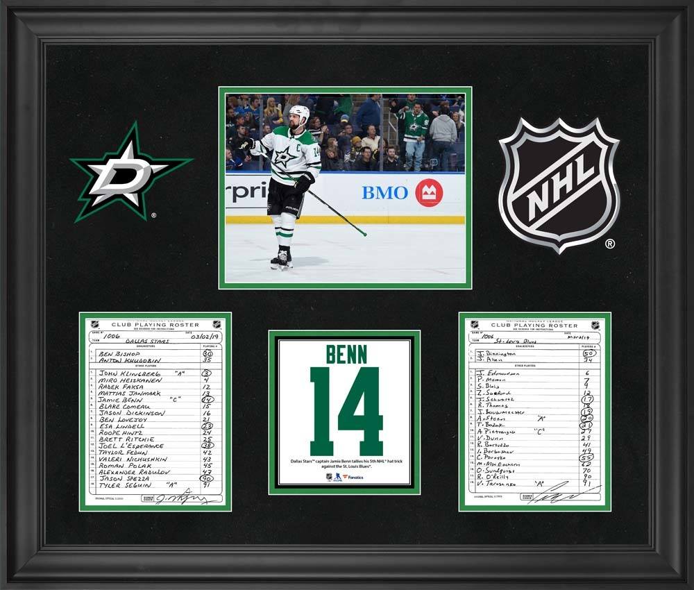 Dallas Stars Framed Original Line-Up Cards from March 2, 2019 vs. St. Louis Blues - Jamie Benn Fifth NHL Hat Trick