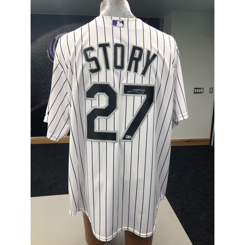 Photo of Colorado Rockies Autographed Replica Jersey: Trevor Story Home White