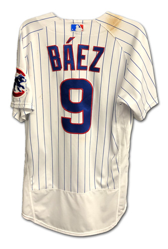 Photo of Javier Baez Game-Used Jersey -- Cardinals vs. Cubs (Game 1) -- 9/5/2020 -- Childhood Cancer Awareness Patch -- Size 42