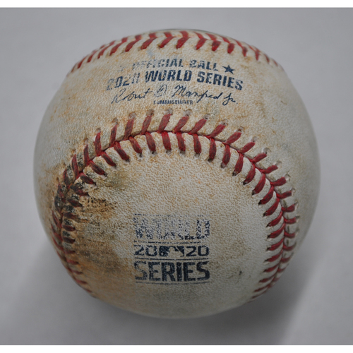 Photo of Game-Used Baseball - 2020 World Series - Los Angeles Dodgers vs. Tampa Bay Rays - Game 3 - Pitcher: Walker Buehler, Batters: Willy Adames (Groundout to 3B), Kevin Kiermaier (Ball) - Bot 3