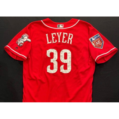 Photo of LEYER -- Authentic Reds Jersey -- $1 Jersey Auction -- $5 Shipping -- Size 44 (Not MLB Authenticated)