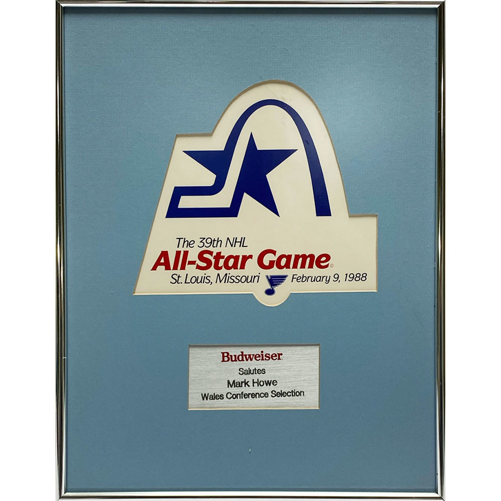 1988 NHL All-Star Game Plaque - Presented to Mark Howe