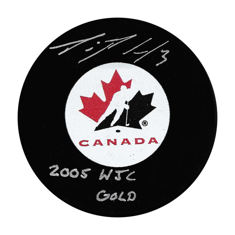 Dion Phaneuf Autographed Team Canada Puck w/2005 WJC GOLD Inscription