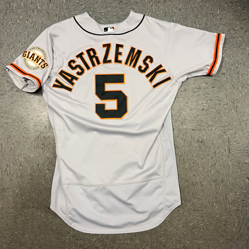 Photo of 2021 Game Used Road Jersey worn by #5 Mike Yastrzemski on 7/1 @ ARI - HR #11 of 2021, 7/3 @ ARI - HR #12 of 2021 & 7/21 @ LAD - HR #16 of 2021 - Size 42
