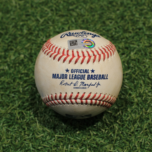 Photo of Game-Used Baseball: Tyler Wade 18th Career Double (NYY@KC 8/11/21)