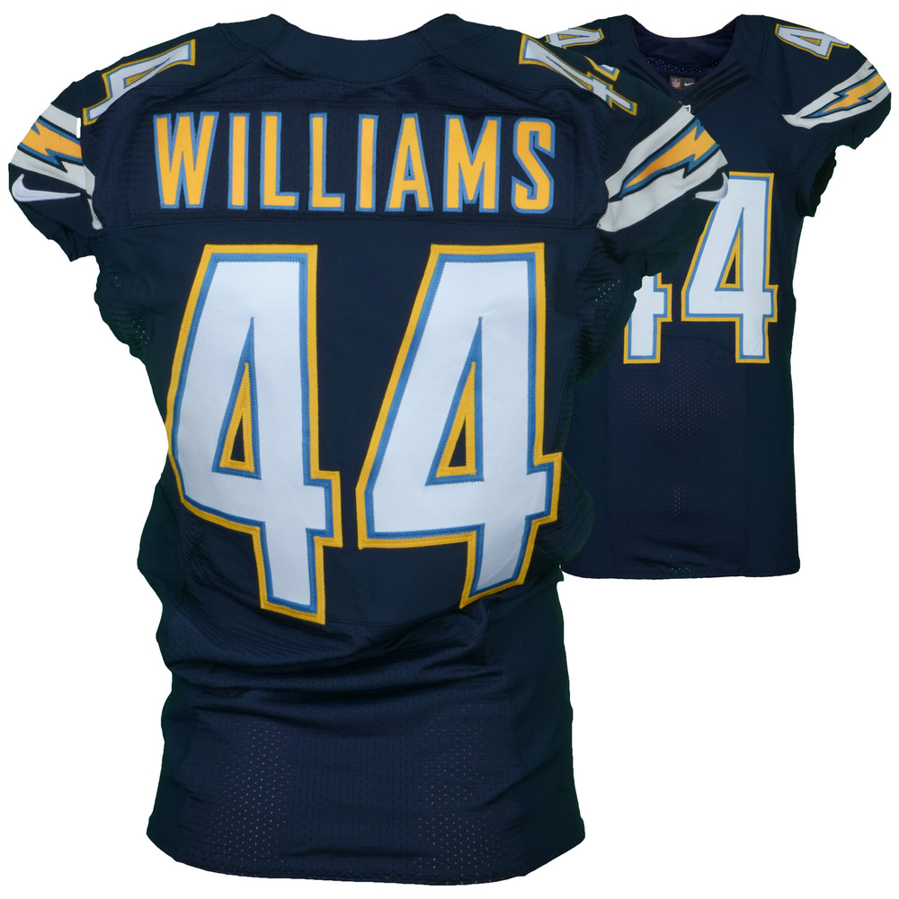 Andre Williams San Diego Chargers Game-Used #44 Blue Jersey vs. Kansas City Chiefs on January 1, 2017