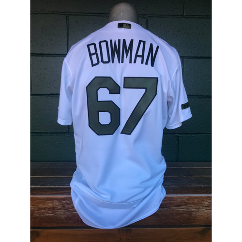 Photo of Cardinals Authentics: Matt Bowman Game Worn Home White Memorial Day Jersey