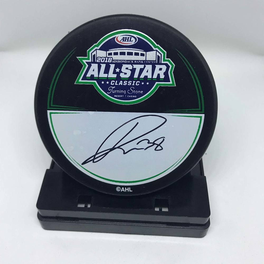 2018 AHL All-Star Classic Souvenir Puck Signed by #38 Rudofs Balcers