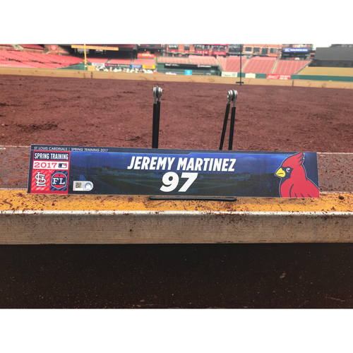 Photo of Cardinals Authentics: Jeremy Martinez Team-Issued Spring Training Locker Tag