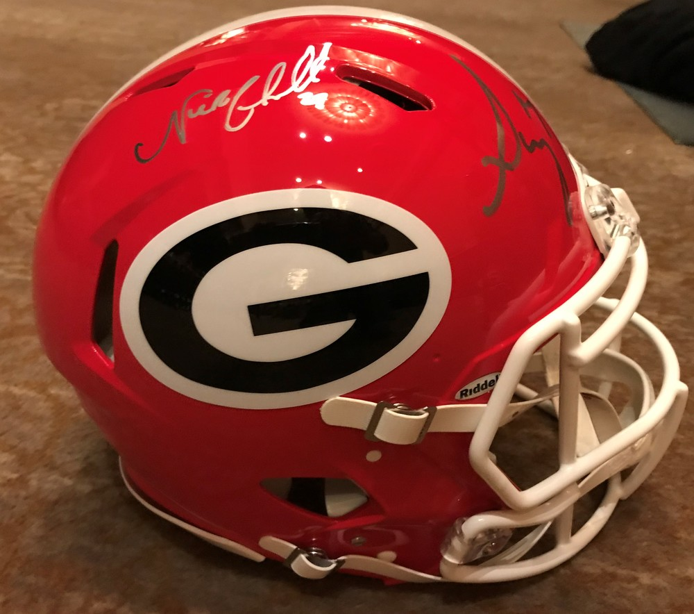 NFL Draft - Sony Michel & Nick Chubb Dual Signed Georgia Helmet