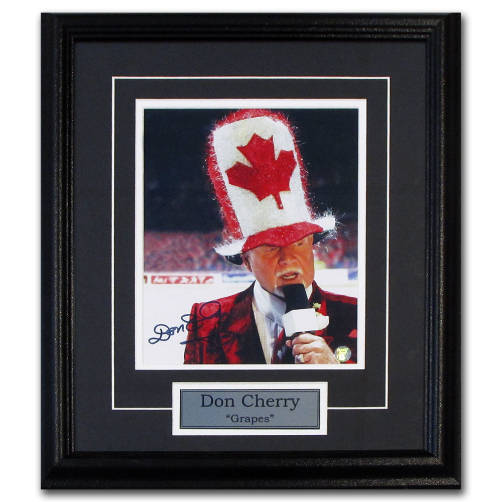 Don Cherry Autographed Framed 8X10 Photo w/Canada Hat