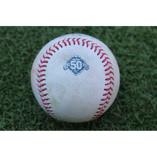 Photo of Game-Used Baseball: Mitch Moreland 826th Career Hit off of Royals Pitcher Drew Butera (BOS at KC - 7/7/18)