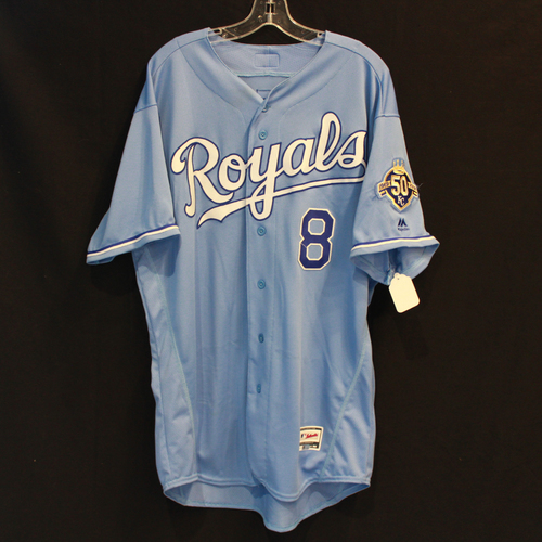 Photo of Game-Used Jersey: Mike Moustakas 877th and 878th Career Hits (Size 50 - 4/11/18 - SEA @ KC)