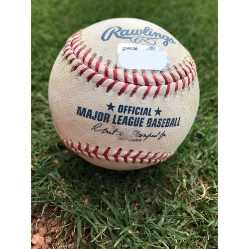 Photo of Game-Used Baseball - Elvis Andrus Single, Logan Forsythe Double (RBI) - 4/12/19
