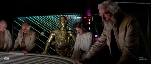 Princess Leia Organa, General Jan Dodonna and C-3PO