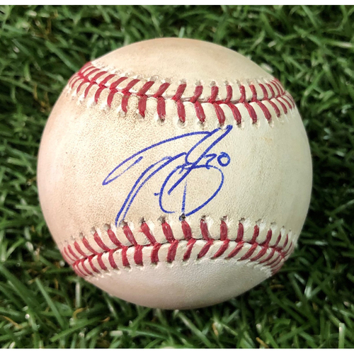 Photo of 20th Anniversary Autographed Game Used Baseball: Tyler Glasnow strikes out Kevin Pillar - September 28, 2018 v TOR