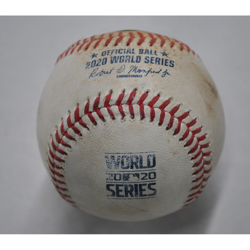 Photo of Game-Used Baseball - 2020 World Series - Los Angeles Dodgers vs. Tampa Bay Rays - Game 4 - Pitcher: Pete Fairbanks, Batters: Mookie Betts (Swinging Strikeout), Corey Seager (Single) - Top 5