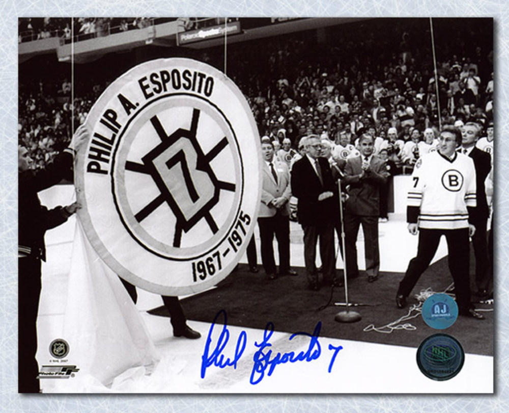 Phil Esposito Boston Bruins Autographed Banner Retirement Night 16x20 Photo