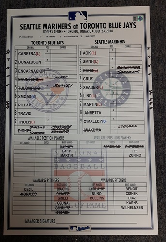Photo of Authenticated Game Used Line-Up Card - July 23, 2016 vs Seattle Mariners. Nelson Cruz had a Grand Slam and 7 RBIs.