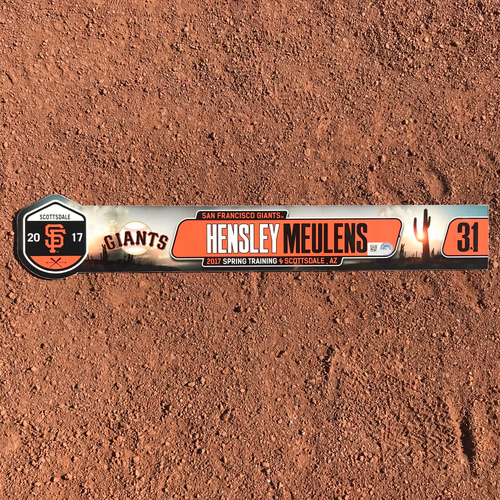 Photo of San Francisco Giants - Team-Issued 2017 Spring Training Locker Tag - #31 Hensley Meulens