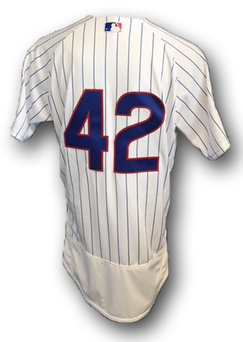 Photo of Justin Hancock Game-Used '42' Jersey -- Braves vs Cubs -- 5/14/18