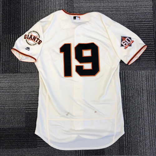Photo of 2018 Game Used Home Cream Jersey worn by #19 Alen Hanson for 2 HOME RUNS! - Size 44