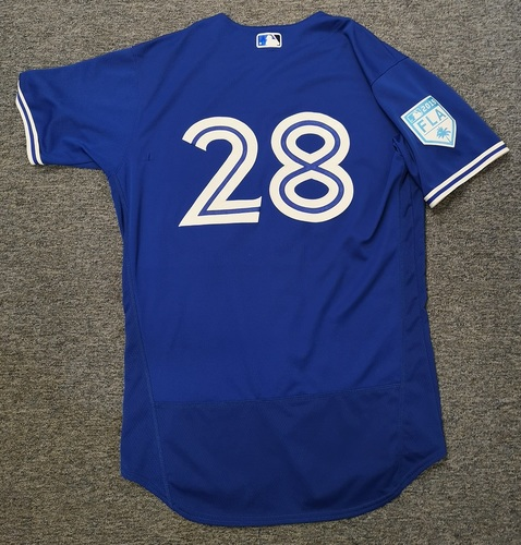 Photo of Authenticated Game Used 2019 Spring Training Jersey - #28 Billy McKinney (Mar 18: 0-for-1. Mar 25: 2-for-3). Size 44
